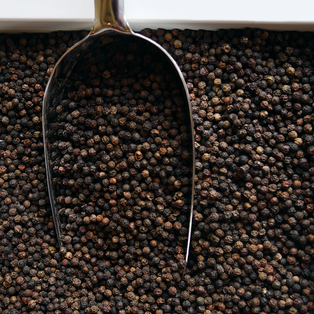 Black peppercorns in a white box with a large metal shovel. Top view. Close up Imagens
