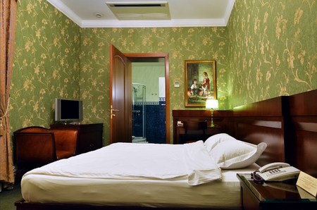 Krasnodar, Russia - Feb 16, 2011: Accommodation unit interior at luxury Hotel Aton. Nowadays Aton is the only hotel in Krasnodar which has the highest appraisal for its work - five stars. 報道画像