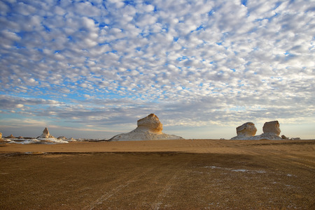 Beautiful abstract nature rock formations aka sculptures in Western White desert at dawn, Sahara. Egypt. Africa