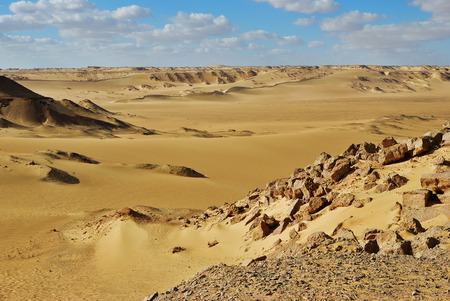 Western Desert landscape, big sand dune at sunset time, Sahara, Egypt