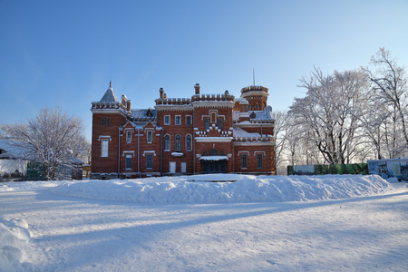 Ramon, Russia - Jan 7, 2019:  Neogotthic Oldenburg castle in winter park, Voronezh, Russia