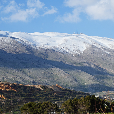 Snow on Mount Hermon, mountain cluster in the Anti-Lebanon mountain range, Golan Heights, Israel
