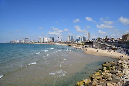 Tel Aviv, Israel - April 05, 2019: Tel Aviv skyline off the shore of the Mediterranean sea. View from the promenade Editorial