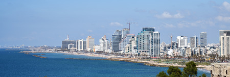 Tel Aviv, Israel - April 05, 2019: Downtown Tel-Aviv skyline cityscape. Here you can see several popular skyscrapers of Tel Aviv like Azrieli Center, Defense Force Headquarters and more