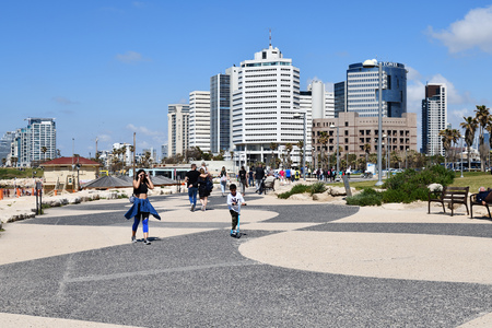 Tel Aviv, Israel - April 5, 2019: View from Tel Aviv quay on the Beit Textil Trade Fair and Fashion Center Trade Tower