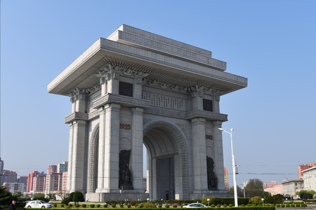 Pyongyang, North Korea - May 1, 2019: Arch of Triumph. A monument built in Pyongyang in honor of the Korean resistance of 1925-1945 against the Japanese occupiers. North Korea (DPRK)