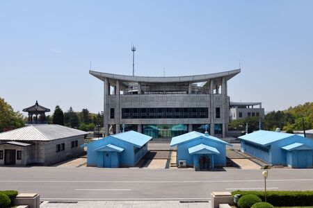Panmunjom, North Korea - May 5, 2019: The demilitarized zone between South and North Korea. View from North Korea (DPRK)