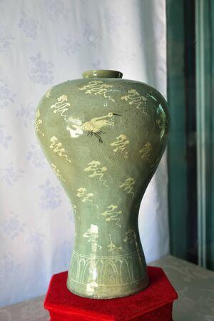 Kaesong, North Korea - May 4, 2019: Confucian educational facility of the Koryo dynasty. Broad-shouldered celadon vase