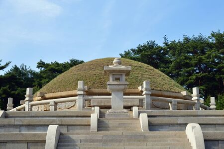 Tomb of King Wanggon or Hyollung Royal tomb. Construction on the tomb start in 943. North Korea. Haesong-ri, Kaepung, Kaesong Stock fotó - 128403464