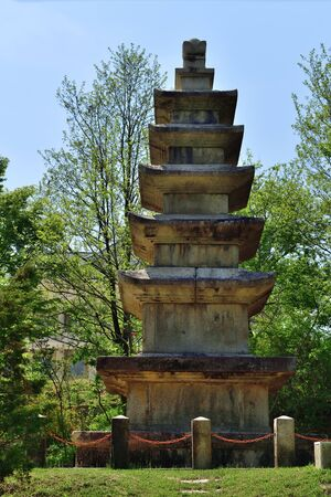 An ancient granite stone pagoda in Koryo Seonggyungwan, confucian educational facility of the Koryo dynasty. 10th century AD