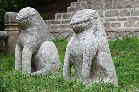 Ancient stone lion sculpture near Tomb of King Wanggon the founder of the Koryo dynasty. Construction on the tomb start in 943. North Korea. Haesong-ri, Kaepung, Kaesong Reklamní fotografie