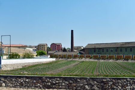 Industrial area and vegetable gardens on the outskirts of the city