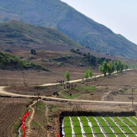 North Korea landscape. Mountains, country road and rice field in foreground. Peasants gather to work in the fields