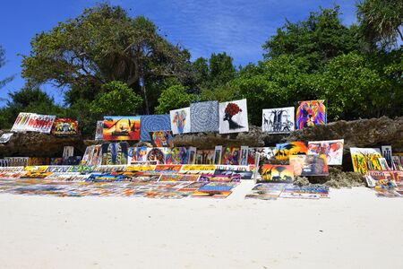 Kendwa, Zanzibar - October 3, 2019: African painting sold on the Kendwa beach.Tanzania, Africa