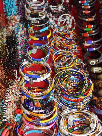 Handcrafted or handmade jewellery. African handmade bijouterie on a beach market. Kendwa, Zanzibar, Tanzania, Africa. Selective focus