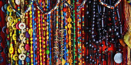Handcrafted or handmade jewellery. African handmade bijouterie on a beach market. Kendwa, Zanzibar, Tanzania, Africa