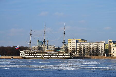 Saint Petersburg, Russia. Petrovsky embankment, Neva river and frigate Grace. Frigate is a historical reconstruction of the three-Decker ships of the XVIII century