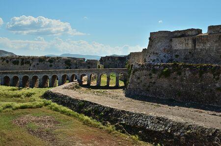 Bridge to the gate in Methoni Venetian Fortress in the Peloponnese, Messenia, Greece.