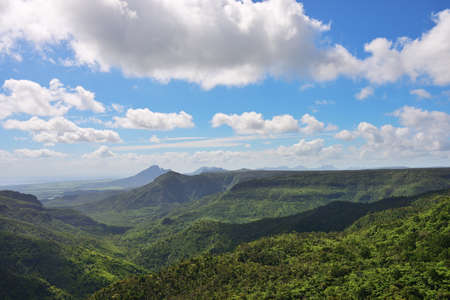 Black River Gorges National Park landscape. Mauritius island. Sleeping volcano on a background of the sky. Africa Stock Photo