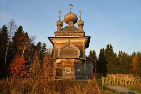 Russia. Karelia. Ancient Orthodox Peter and Paul wooden Church on the shore of White Sea in pomor village Virma. Built in 1625