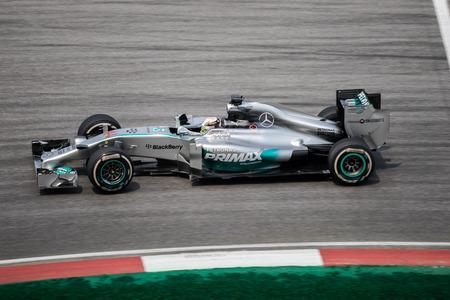 SEPANG - MARCH 28: Lewis Hamilton of Mercedes AMG Petronas F1 Team at 2014 Formula 1 Petronas Malaysia Grand Prix Second Practice Session at Sepang circuit on March 28, 2014 in Sepang, Malaysia.