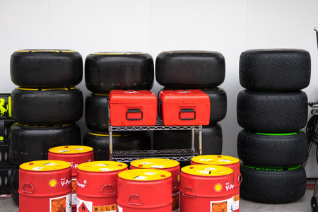 circuit brake: SEPANG - MARCH 28: Wheels ,Tire and oil after tractice day at Sepang circuit on March 28, 2014 in Sepang, Malaysia.