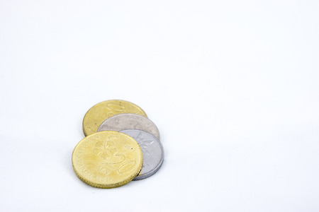 nickle: Some Ringgit Coins on White Background Stock Photo