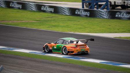 aas: BURIRUM, THAILAND - OCTOBER 5 : V.Inthraphuvasakand Alexandre Imperatori of i MOBILE AAS in GT300 Races at 2014 AUTOBACS SUPER GT Round7 BURIRAM UNITED SUPER GT RACE on October 5, 2014 in Burirum, Thailand. Editorial
