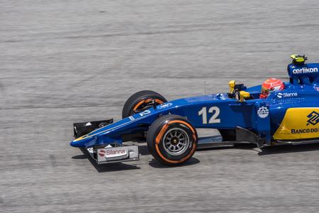 SEPANG - MARCH 27: Felipe Nasr of Sauber F1 Team at 2015 Formula 1 Petronas Malaysia Grand Prix Second Practice Session at Sepang circuit on March 27, 2015 in Sepang, Malaysia. Editorial