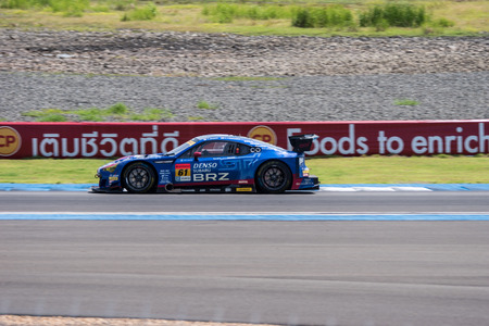 buriram: BURIRUM, THAILAND - JUNE 21 : Hideki Yamauchi of RD SPORT in Super GT Final Race Warm Up Lap at 2015 AUTOBACS SUPER GT Round 3 BURIRAM SUPER GT RACE on June 21, 2015 in Burirum, Thailand.
