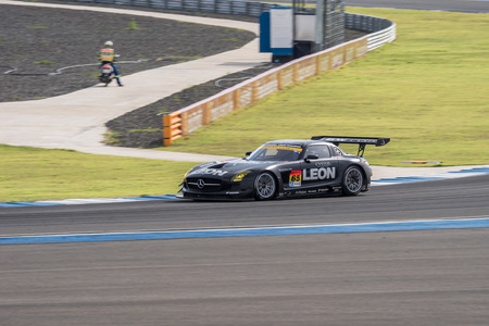 laps: BURIRUM, THAILAND - JUNE 21 : Naoya Gamoui of LEON RACING in Super GT Final Race 66 Laps at 2015 AUTOBACS SUPER GT Round 3 BURIRAM SUPER GT RACE on June 21, 2015 in Burirum, Thailand.