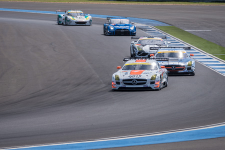 buriram: BURIRUM, THAILAND - JUNE 21 : Super GT Final Race Warm Up Lap at 2015 AUTOBACS SUPER GT Round 3 BURIRAM SUPER GT RACE on June 21, 2015 in Burirum, Thailand. Editorial