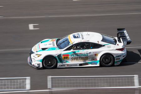 buriram: BURIRUM, THAILAND - JUNE 21 : Hiroki Yoshimoto of LM corsa in Super GT Final Race 66 Laps at 2015 AUTOBACS SUPER GT Round 3 BURIRAM SUPER GT RACE on June 21, 2015 in Burirum, Thailand.