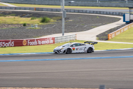 buriram: BURIRUM, THAILAND - JUNE 21 : Kazuki Hiramine of JLOC in Super GT Final Race 66 Laps at 2015 AUTOBACS SUPER GT Round 3 BURIRAM SUPER GT RACE on June 21, 2015 in Burirum, Thailand.