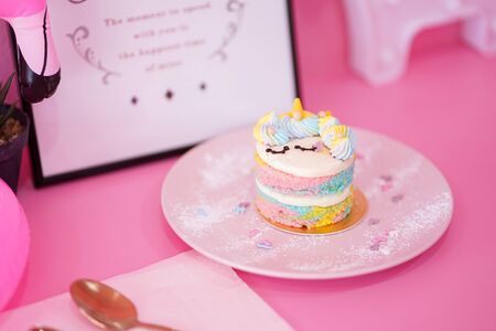 Stock Photo - Delicious the ring rainbow cake with pink background Stok Fotoğraf - 132123540