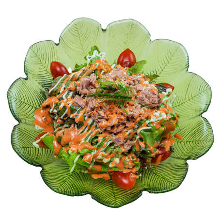 Tuna in Spring Water ice salad Japanese Food Style on White Background
