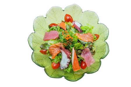 Mixed Salad ice salad Japanese Food Style on White Background