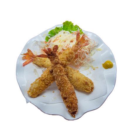Deep Fried Shrimp on White Background