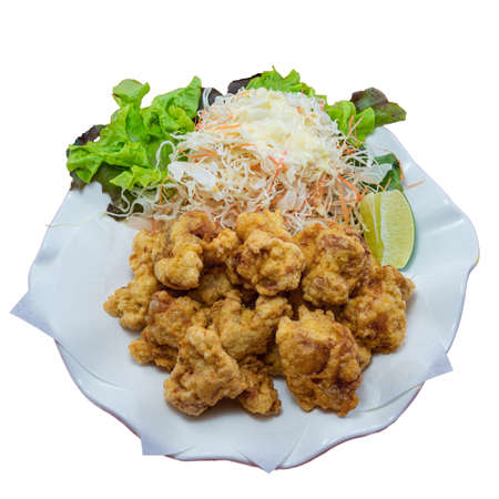 Japanese Fried Chicken on White Background