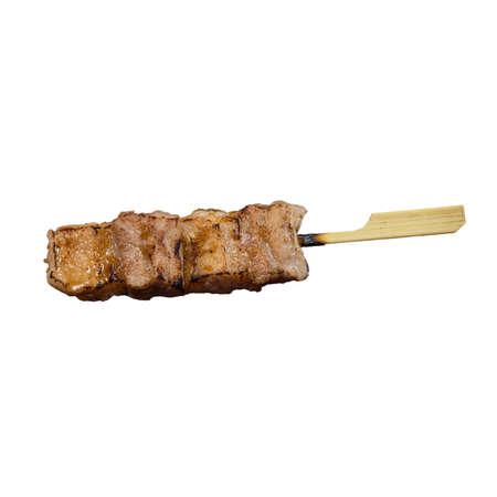 Yakitori Pork Izakaya Style a Popular Japanese Food on White Background