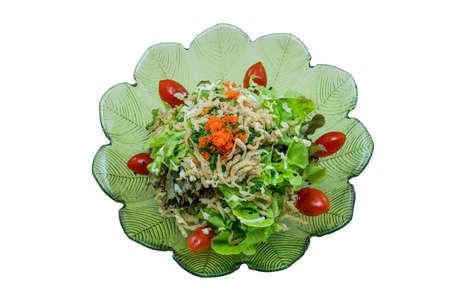 Shirauo salad or Crispy deep-fried ice fish salad Japanese Food Style on White Background