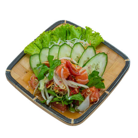 Salmon Spicy Salad Thai spicy Food Asian Food Appetizer dish break time goodtasty diet top view on White Background Stock Photo