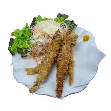 Deep Fried Shishamo Fish Japanese Food on White Background