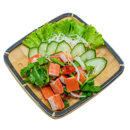 Crab sticks Spicy Salad Thai spicy Food Asian Food Appetizer dish break time goodtasty diet top view on White Background