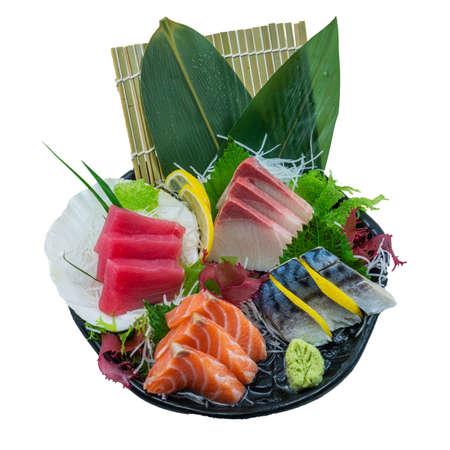 Sashimi Japanese Food, (Akami, Salmon, Saba and Hamachi) Sashimi Set. on White Background