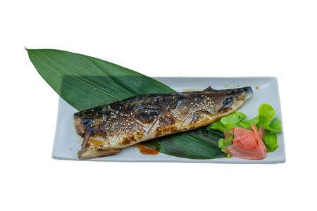 Grilled Saba Fish Steak with Teriyaki Sauce - Japanese Food Style on White Background