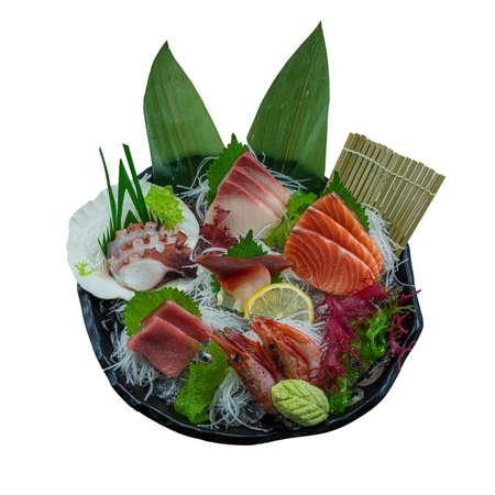 Sashimi Japanese food, (Hokkigai, Akami, Tako, Hamachi, Salmon and Shrimp)Sashimi set. on White Background
