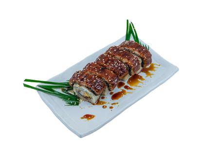 Japanese Food : Unagi Sushi Rolls served on White Dish on White Background Stock Photo