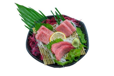 Food Japan Tuna Sashimi ,(Akami, Chutoro ,Otoro)Japanese Gourmet Sashimi on White Background Stock Photo