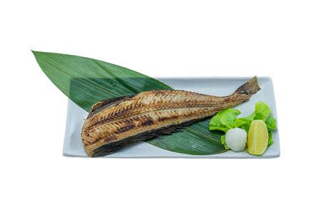 Grilled fish of Hokke(Arabesque greenling)  - Japanese Food Style on White Background